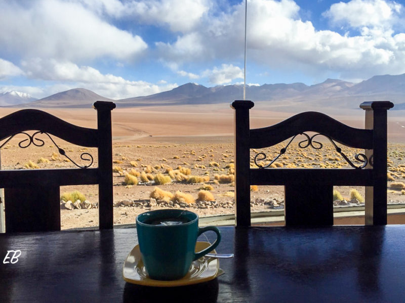 Having a Mate de Coca at Tayka Hotel del Desierto in Bolivia