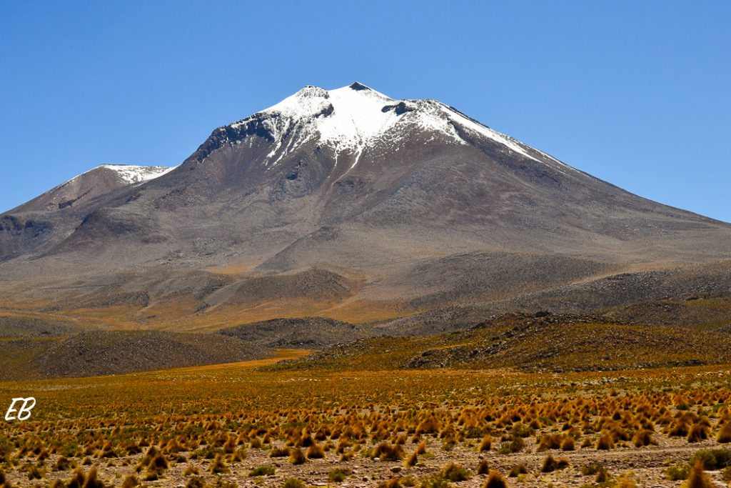 Surrounded by snowed peaks and volcanoes in the Bolivian High Plains