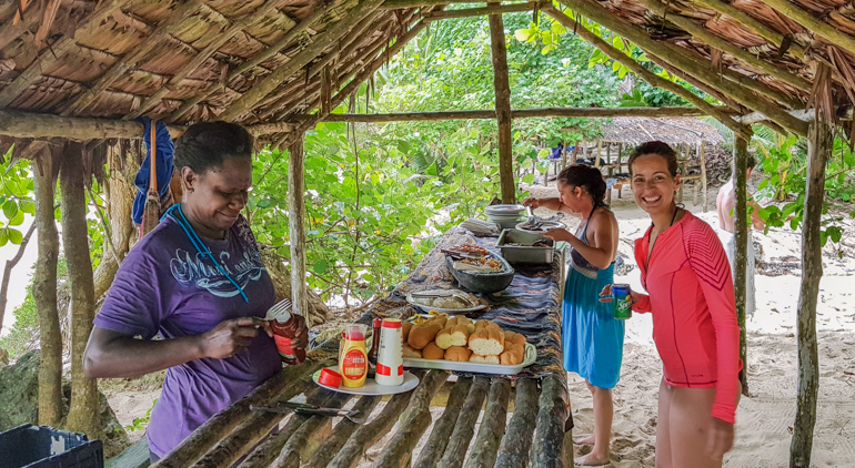 Lunch at a wild beach in Efate Island